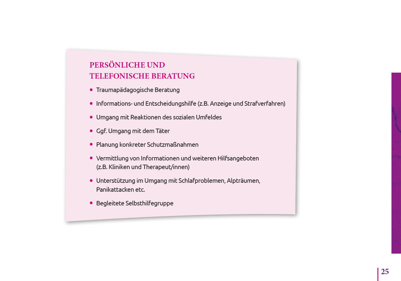Persönliche und telefonische Beratung S.25